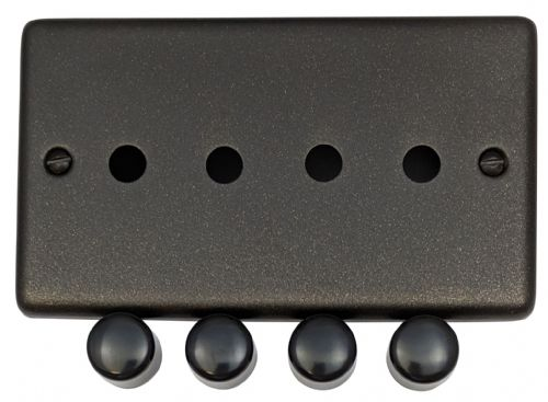 G&H CG14-PK Standard Plate Graphite 4 Gang Dimmer Plate Only inc Dimmer Knobs